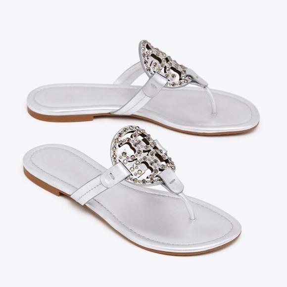ca731e39d81402 Tory Burch Miller Sandals Metallic embellished New
